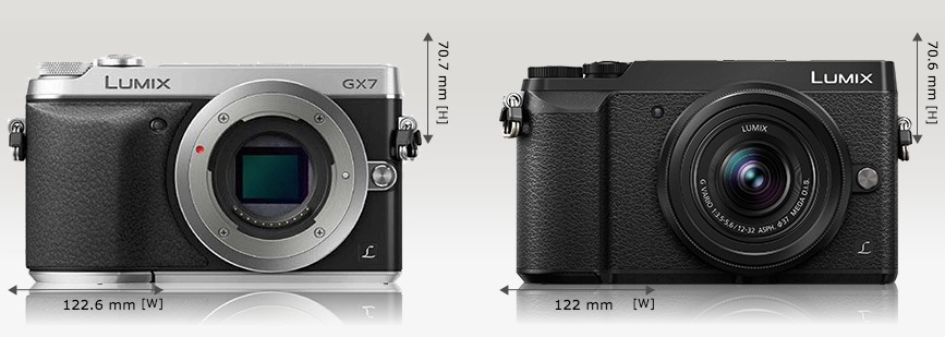Compare camera dimensions side by side
