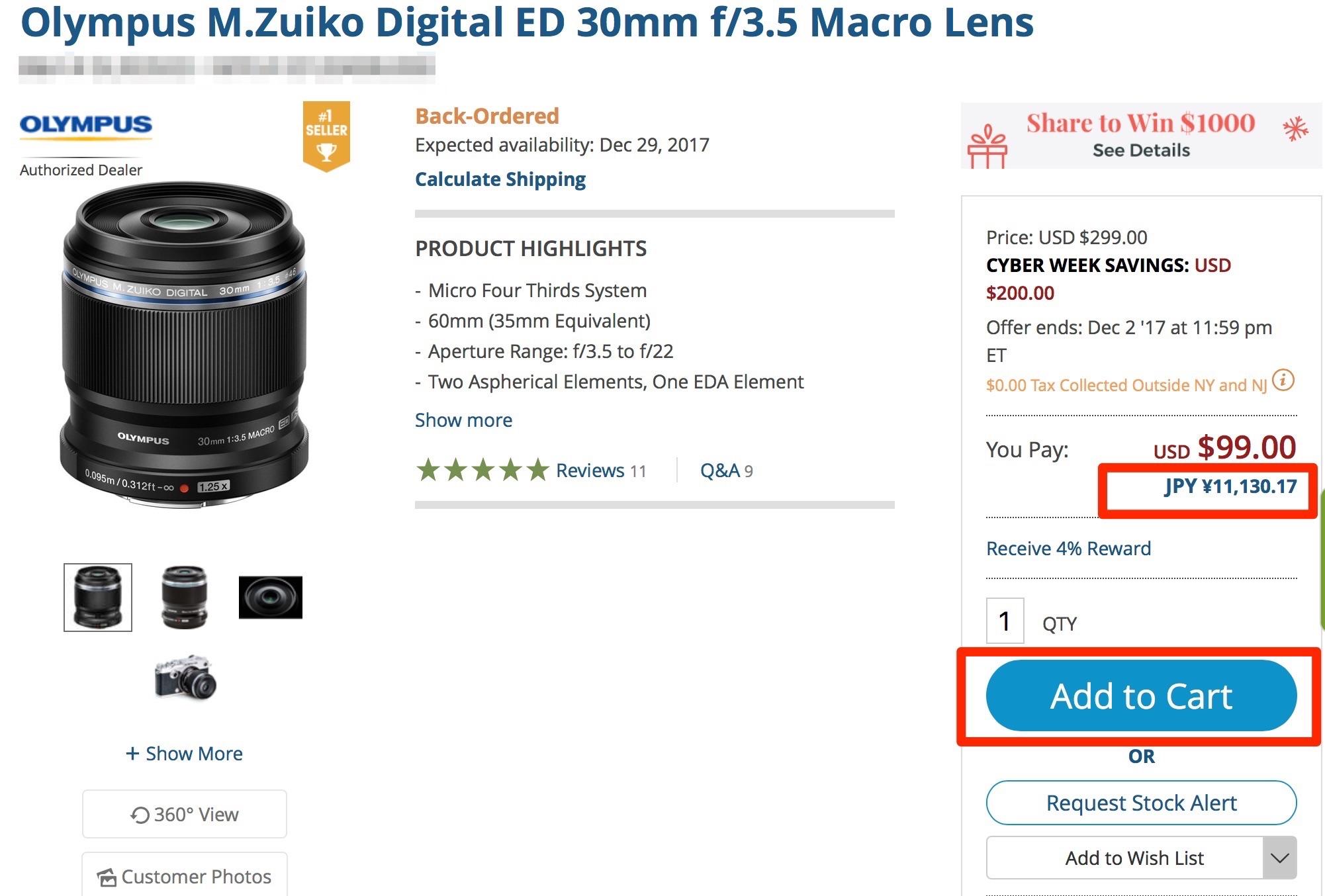 f1ba28fd448d717a3926710680a16c7b 1 - M.ZUIKO DIGITAL ED 30mm F3.5 MacroをB&Hで購入しました
