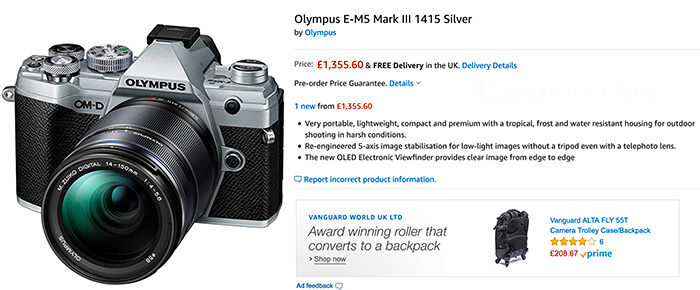 UK 1 - Amazon UKにE-M5 Mark Ⅲが登録されている?