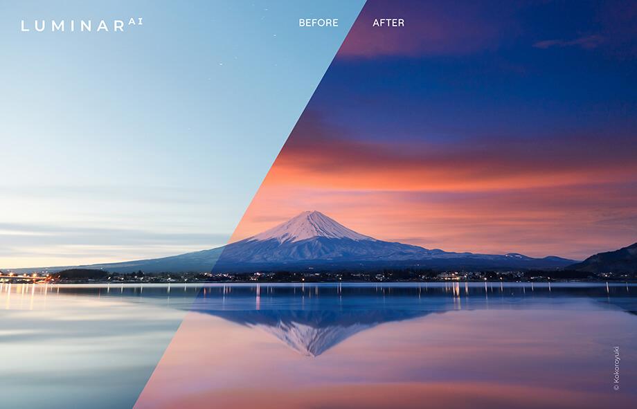 Sky AI before after image 2 2 - Luminar AI バージョン 1.2 アップデート情報|スカイ AIで空の反射が追加・テンプレート機能の改善など